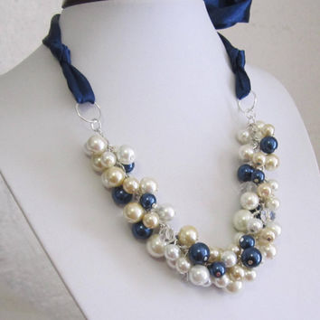 Bridesmaid Necklace, Navy, White, Champagne and Ivory Pearls with Navy Blue Ribbon, Cluster Necklace, Pearl Necklace, Blue Ribbon Necklace