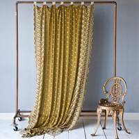 Bella Notte Curtain Panel Silk Velvet Embroidered with Scalloped Sides