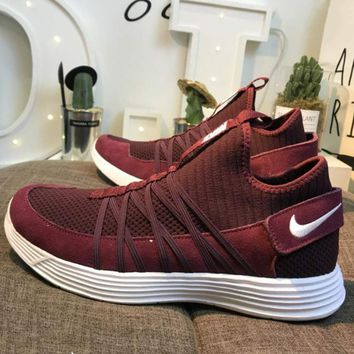 NIKE LUNARGLIDE 4.5 on the moon knit Velcro elastic super light running shoes F-CSXY wine red
