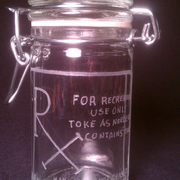 """RX Label """"Humor"""" Hand Etched/Engraved Glass Stash Jar by Kitty Piston OOAK"""