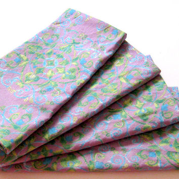 Cloth Napkins - Set of 4 - Ikat Purple Blue Green - Dinner, Table, Everyday, Wedding
