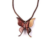 Wood Jewelry, Hand Carved Pendant, Wood Pendant Necklace, Wood Butterfly Pendant, Wooden Jewelry, Wood Carved Pendant, Butterfly Necklace