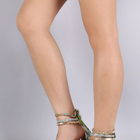 Liliana Floral Strappy Jeweled Ankle Cuff Flat Sandal