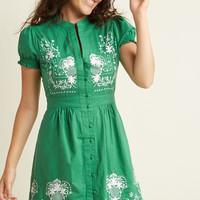 Needlework it Out A-Line Dress in Green