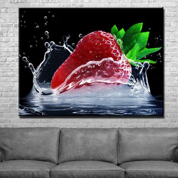 Strawberry Kitchen and Dining Room Wall Decor Canvas Set