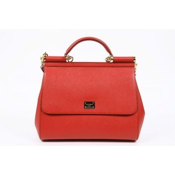 Dolce & Gabbana Miss Sicily Dauphine Leather Flap Bag, Red