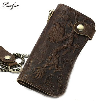 Men Vintage crazy horse leather chain wallet Genuine leather Bifold long wallet Snap card holder tiger dragon coin pocket purse