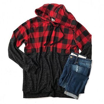 Buffalo Plaid and Charcoal Color Block Hoodie