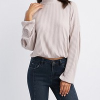Ribbed Mock Neck Dolman Top | Charlotte Russe