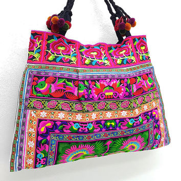Thai Hill Tribe Bag Pom Pom Hmong Embroidered Ethnic Purse Woven Bag Hippie Bag Hobo Boho Bag Shoulder Bag Green Hot Pink
