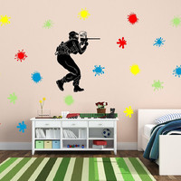Wall Decal Paintball Player with Paint Splatters Vinyl Wall Decal Set 22259