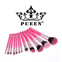 PUEEN Professional 12 Piece Makeup Brush Set in Vegan Leather Case Holder - High Quality Synthetic Hair Bristles-BH000001