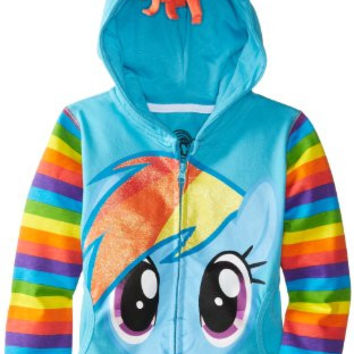 FREEZE Little Girls' My Little Pony Rainbow Dash Hoodie, Blue Multi, M (5/6)