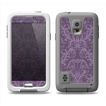 The Dark Purple Delicate Pattern Samsung Galaxy S5 LifeProof Fre Case Skin Set