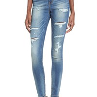 Sun & Shadow Distressed High Rise Denim Leggings | Nordstrom