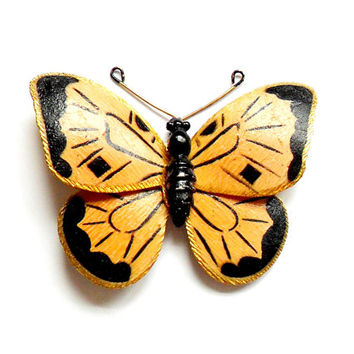 Vintage Weiss Butterfly Hair Clip - Painted Enamel - Black Orange - Monarch - Wedding Bride - Painted Lady - Alligator Clip - Fascinator