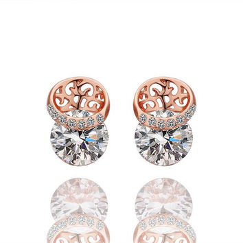 18K Rose Gold Laser Cut Circle Earrings Made with Swarovksi Elements