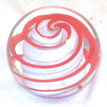 Hand Blown Glass Paperweight, Valentine Swirl by Amigami on Etsy