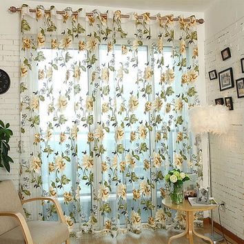 New Modern Flower Curtain Transparent Tulle Curtains Window Screening Treatments Living Room Children Bedroom Curtain #229325