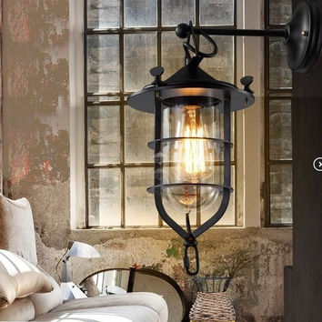 Loft2RH countryside retro industrial bar counter clear galss shade dock wall lamp light wall sconce