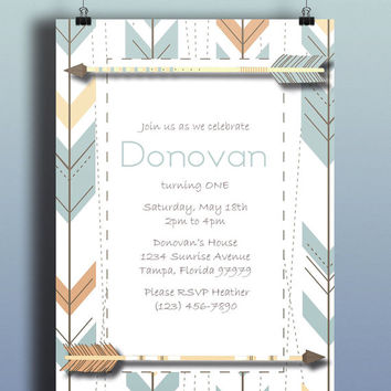 Instant Download-Arrow Tribal Aztec Orange Blue Brown DIY Printable Birthday Party Baby Boy Shower Bridal Wedding Invitation Template