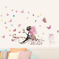 Butterfly Flower Fairy Wall Stickers for Kids Room Wall Decoration Bedroom Living Room Children Girls Room Decal Poster Mural
