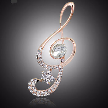 High Quality Charming Musical Note Glass Rhinestone Lapel Pin