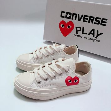 CDG Play x Converse Chuck Taylor 70s All Star Low Top White Black Canvas Child Sneaker Toddler Kid Shoes - Best Deal Online