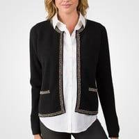 Black Cashmere Lace-trim Crop Cardigan Sweater