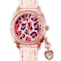 Leopard Charm Pink Leather Strap Watch