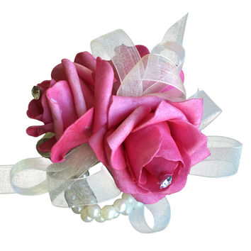 Wrist Corsage -Watermelon Pink Foam Rose with Rhinestone