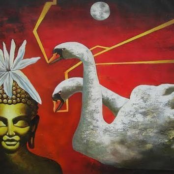 ORIGINAL HANDMADE ACRYLIC BUDDHA AND SWAN PAINTING