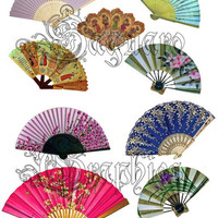 Variety of Handheld Fans Art - - Digital Collage Sheets - Variety of Sizes Fans for Scrapbooks, Party Favors, Wedding Projects, Crafts