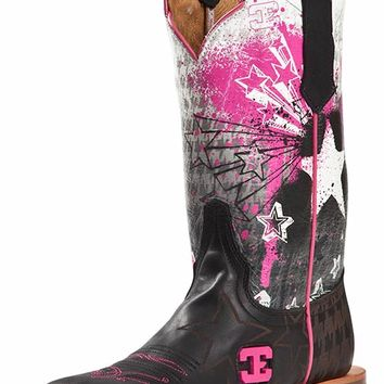 "Cinch Edge Women's ""Explosion"" Square Toe Cowboy Boots - Black/ Pink"