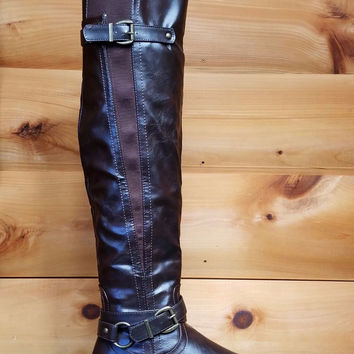 Breeze Shelbi Dark Brown Leatherette Thigh High Riding Engineer Boots 7-11
