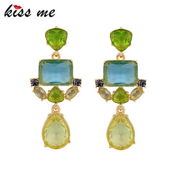 Fashion accessories green crystal exquisite stud earrings