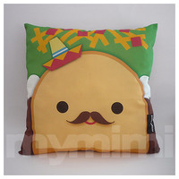 "12 x 12"" Food Pillow, Taco Pillow, Sombrero Pillow, Mexican Food, Throw Pillow, Kawaii, Kids Cushion, Room Decor, Children's Toys"