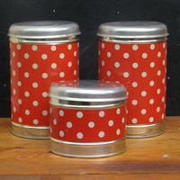 Soviet red vintage metal tin boxes canisters for kitchen - Set of 3 new boxes - Soviet vintage