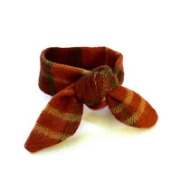Plaid Bun Tie Winter Bun Wrap Wired Hair Accessory Pony Tail Wrap Wrist Wrap Fabric Bun Wrap Burgundy Russet Gold Gift Idea