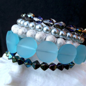 Ice Blue Pearl Wrap Bracelet: Ocean Blue Sea Glass Beach Jewelry, Metallic Silver Sparkle Arm Candy, Peacock Blue Memory Wire Wrist Party