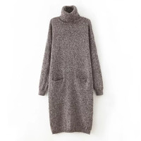 Winter Women's Fashion With Pocket Long Sleeve Sweater [6512916167]