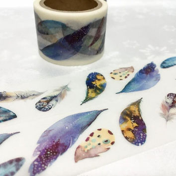 feather washi tape 3cm x 5M Watercolour feathers colourful feathers EXTRA WIDE washi tape bird feather fur print label tape scrapbook decor