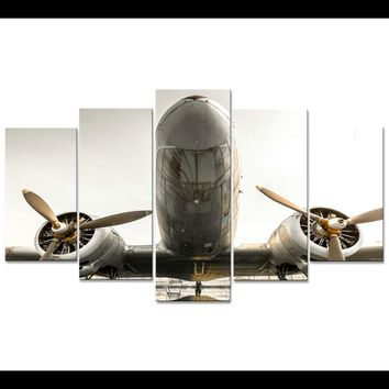 5 Pieces Panel Aircraft Airplane Propeller Modern Wall Art Canvas Print Picture