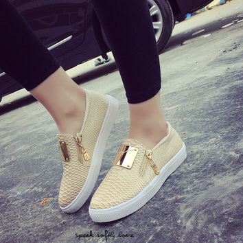 free shipping 2016 New Spring Fall Fashion Flat Women Loafers Shoes Platform A Pedal Lazy Side Zipper Female Single Shoes 37 ZY