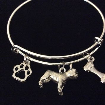 French Bull Dog Jewelry Expandable Charm Bracelet Adjustable Silver Bangle One Size Fits All Gift