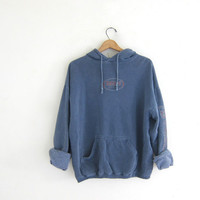 Vintage Hog's Breath bar sweatshirt Hoodie. pigment dyed blue sweatshirt. Hooded sweatshirt. cotton boyfriend hoodie
