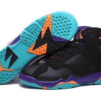 Air Jordan 7 Retro Men Women Basketball Sneaker Black/Purple/Blue