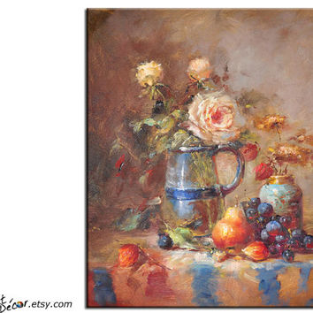 Original Art Textured Painting, Stll Life Oil Painting, Flower And Fruit Canvas Art, Dinning Room Decor
