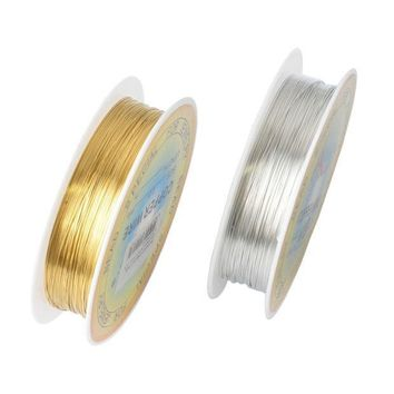 ICIK272 0.25/0.3/0.4/0.5/0.6mm 1 Roll Alloy Cord Silver Gold Plated Craft Beads Rope Copper Wires Beading Wire Jewelry Making Free Sh ln