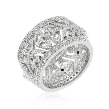 Filigree Crest Eternity Ring